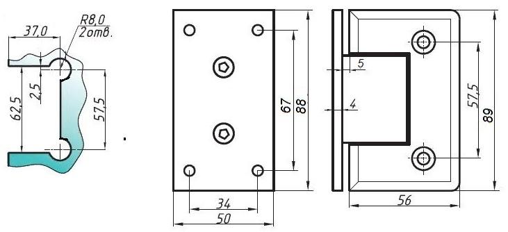 Душевая петля Центральная из латуни с покрытием хромом для крепления закаленного стекла к стене под углом 90 градусов, 4 точки крепления к плоскости (арт.0031)