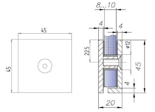Коннектор стена-стекло для стекла 6-10 мм.
