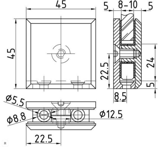 Коннектор стена-стекло для стекла 6-10 мм