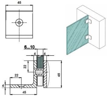 Коннектор стена-стекло 90 градусов