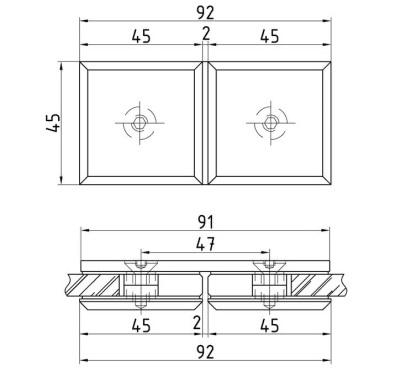 Коннектор стекло-стекло 180 градусов